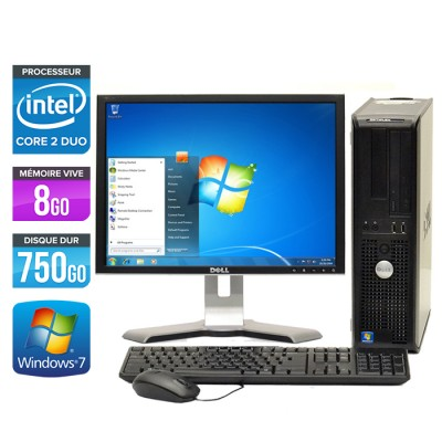 Dell Optiplex 780 Desktop - Core 2 Duo E7500 - 8Go - 750Go - 750Go - Ecran 19 pouces