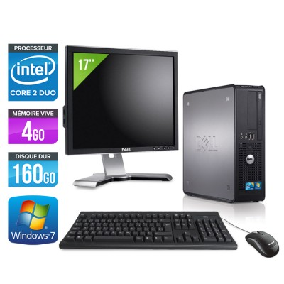 Dell Optiplex 780 SFF + Ecran 17'' - Core 2 Duo E8500 - 4Go - 160Go
