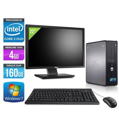 Dell Optiplex 780 SFF + Ecran 22'' - Core 2 Duo E7500 - 4Go - 160Go