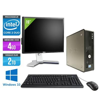 Dell Optiplex 780 SFF + Ecran 19'' - Core 2 Duo E7500 - 4Go - 2To - Windows 10