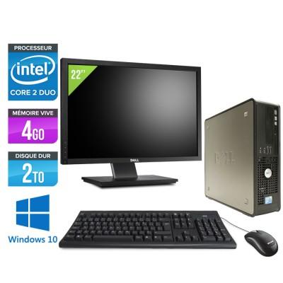 Dell Optiplex 780 SFF + Ecran 22'' - Core 2 Duo E5300 - 4Go - 2To - Windows 10