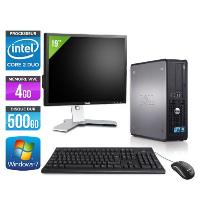 Dell Optiplex 780 SFF + Ecran 19'' - Core 2 Duo E7500 - 4Go - 500Go