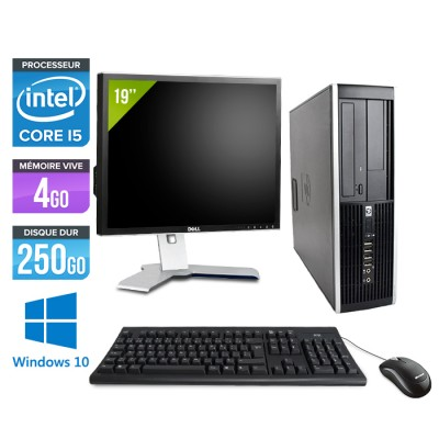"HP Elite 8200 SFF + Ecran 19"" - Core i5 - 4Go - 250Go -Windows 10"