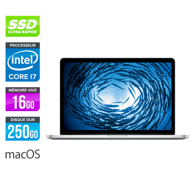 Apple MacBook Pro 15 retina - reconditionné - i7 - 16Go - 256Go SSD - MacOs - A1398