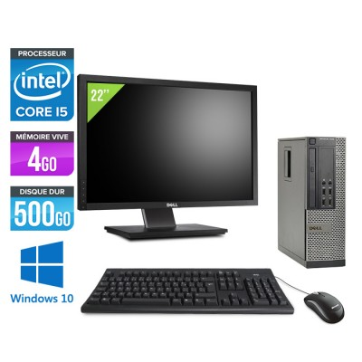 Dell Optiplex 7010 SFF + Ecran 22'' - i5 - 4Go - 500Go - Windows 10 Home