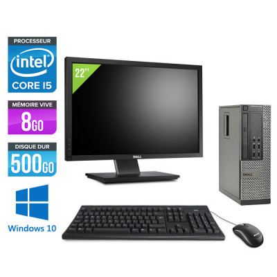 Dell Optiplex 7010 SFF + Ecran 22'' - i5 - 8Go - 500Go - Windows 10