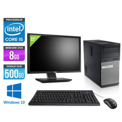 Dell Optiplex 7010 Tour reconditionné - intel core i5 - 8Go - 500Go - Windows 10 - Ecran22