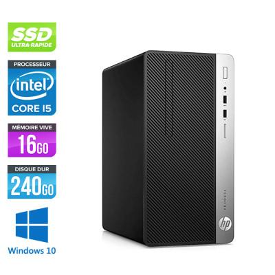 Pc de bureau reconditionné - HP ProDesk 400 G5 Tour - i5 - 16Go - 240Go SSD - W10