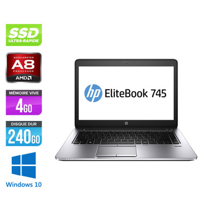 HP Elitebook 745 G3 - A8 8600B - 4Go - SSD 240Go - 14'' - Windows 10