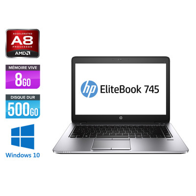 HP Elitebook 745 G3 - A8 8600B - 8Go - HDD 500Go - 14'' - Windows 10