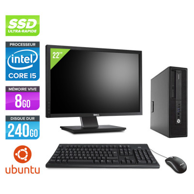 """HP EliteDesk 800 G2 SFF - i5 - 8Go DDR4 - 240Go SSD - Linux + Ecran 22"""""""
