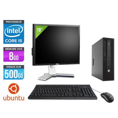"""HP EliteDesk 800 G2 SFF - i5 - 8Go DDR4 - 500Go HDD - Linux - Ecran 19"""""""