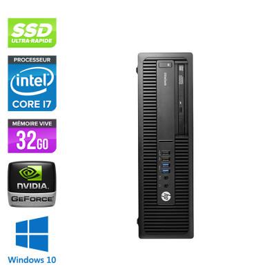 Pc bureau professionnel - HP EliteDesk 800 G2 SFF - i7 - 32 Go DDR4 - SSD 240 Go - Nvidia GeForce GT1030 - Windows 10