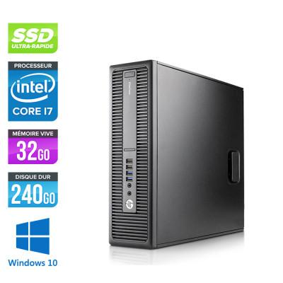 Pc bureau professionnel - HP EliteDesk 800 G2 SFF - i7 - 32 Go DDR4 - SSD 240 Go - Windows 10