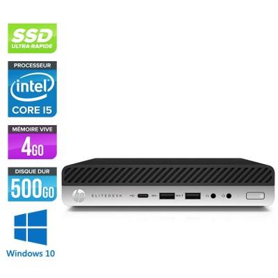 Pc de bureau HP EliteDesk 800 G3 DM reconditionné - i5 - 4Go DDR4 - 500Go SSD - Windows 10