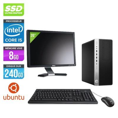 Pc de bureau HP EliteDesk 800 G3 Tour reconditionné - i5 - 8Go DDR4 - 240GO SSD - Ubuntu / Linux + Ecran 20
