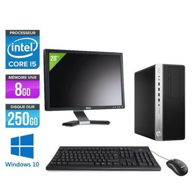 Pc de bureau HP EliteDesk 800 G3 Tour reconditionné - i5 - 8Go DDR4 - 250GO HDD - Windows 10 + Ecran 20