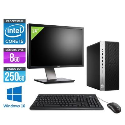 Pc de bureau HP EliteDesk 800 G3 Tour reconditionné - i5 - 8Go DDR4 - 250GO HDD - Windows 10 + Ecran 24