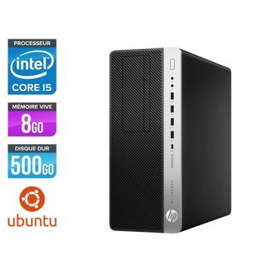 Pc de bureau HP EliteDesk 800 G3 Tour reconditionné - i5 - 8Go DDR4 - 500GO HDD - Ubuntu / Linux