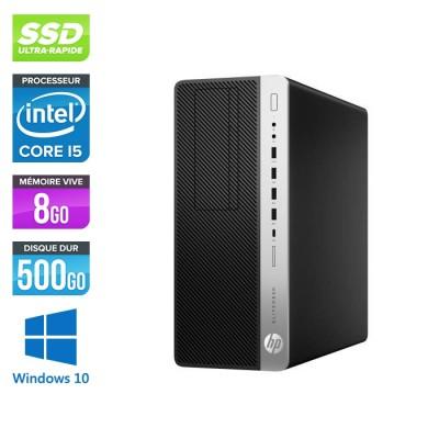 Pc de bureau HP EliteDesk 800 G3 Tour reconditionné - i5 - 8Go DDR4 - 500GO SSD - Windows 10