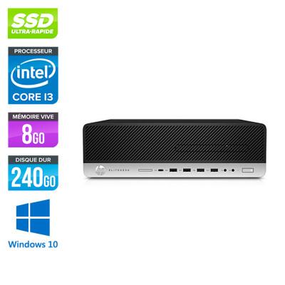 Pc de bureau HP EliteDesk 800 G4 SFF reconditionné - i3 - 8Go DDR4 - 240Go SSD - Windows 10