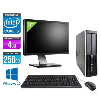 """HP Elite 8200 SFF + Ecran 24"""" -i5 - 4Go - 250Go -Windows 10"""