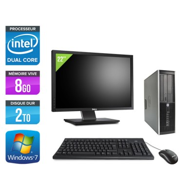 "HP Elite 8200 SFF + Ecran 22"" - Intel G840 - 8Go - 2To - Windows 7"