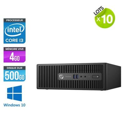 Lot de 10 ordinateurs de bureau HP ProDesk 400 G3 SFF reconditionnés - i3 - 4 Go - 500 Go HDD - W10