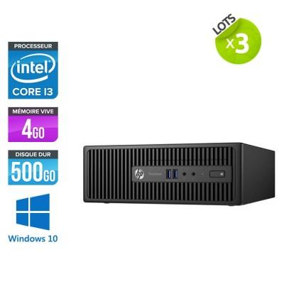 Ensemble de 3 ordinateurs de bureau HP ProDesk 400 G3 SFF remis à neuf - i3 - 4 Go - 500 Go HDD - W10