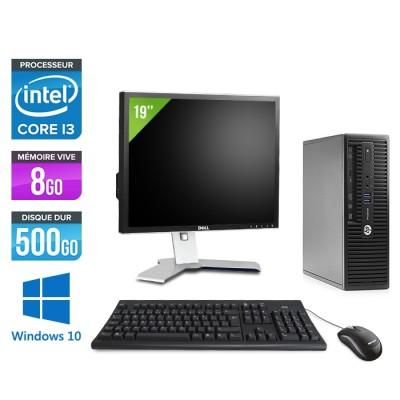 "Pc de bureau HP ProDesk 400 G3 SFF reconditionné - i3 - 8Go - 500Go HDD - W10 - Ecran 19"""