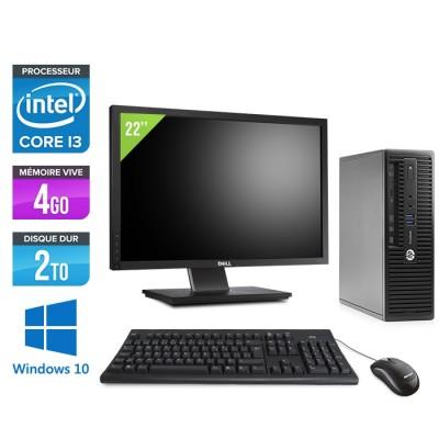 "Pc de bureau HP ProDesk 400 G3 SFF reconditionné - i3 - 4Go - 2To HDD - W10 - Ecran 22"""