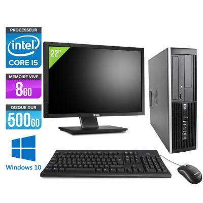 "HP Elite 8200 SFF + Ecran 22"" - Core i5 - 8Go - 500Go -Windows 10"