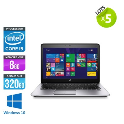 Lot de 5 Pc portable - HP Elitebook 840 G2 - i5 - 8Go RAM- 320Go HDD - 14'' - Windows 10