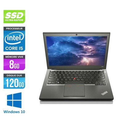 Ordinateur portable reconditionné - Lenovo ThinkPad X240 - i5 4200U - 8 Go - 120 Go SSD - Windows 10