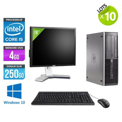 "Lot de 10 HP Elite 8200 SFF + Ecrans 19"" - i5 - 4go - 250go - win10"
