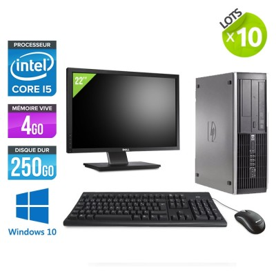 "Lot de 10 HP Elite 8200 SFF + Ecrans 22"" - i5 - 4go - 250go - win10"