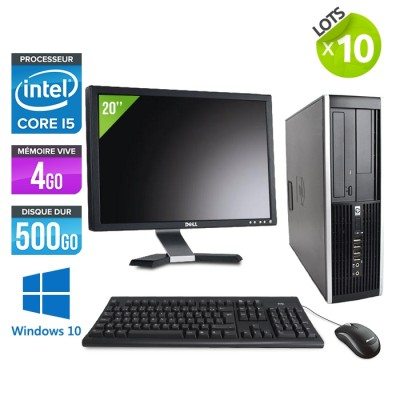"Lot de 10 Pc bureau - HP Elite 8200 SFF - i5 - 4 Go - 500 Go HDD - écran 20"" - Windows10"