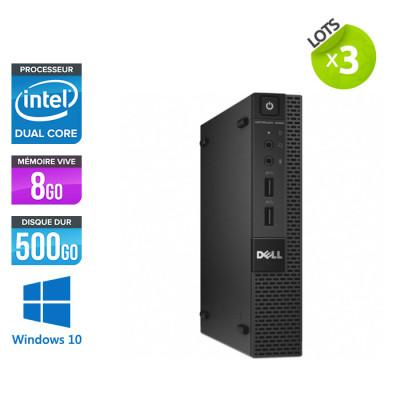 Lot de 3 pc bureau reconditionnés - Dell OptiPlex 3020 Micro - G3250T - 8Go - 500Go HDD - W10