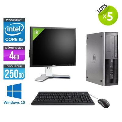 "Lot de 5 HP Elite 8200 SFF - i5 - 4go - 250go - ecran 19"" - win10"