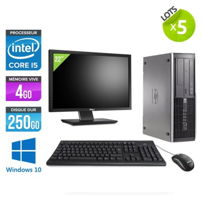 "Lot de 5 HP Elite 8200 SFF - i5 - 4go - 250go - ecran 22"" - win10"