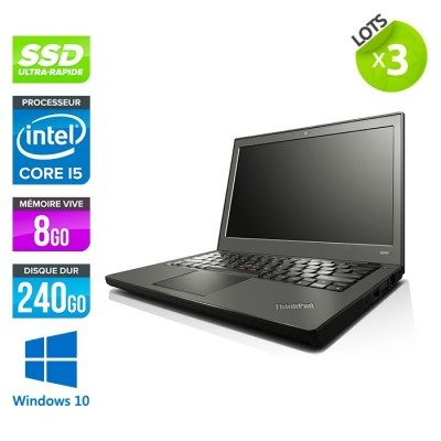 Lot 3 Lenovo ThinkPad X240 - i5 4300U - 8 Go - 240 Go SSD - Windows 10