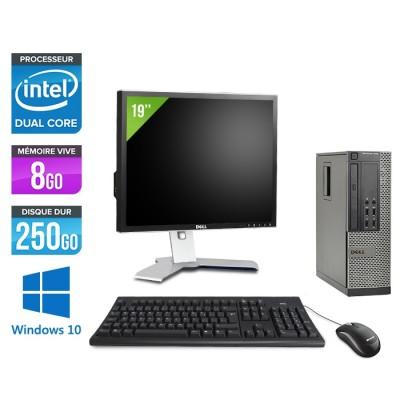 Dell Optiplex 7010 SFF + Ecran 19'' - Pentium G2020 - 8Go - 250Go - Windows 10 Pro