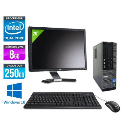 "Pack Dell Optiplex 790 SFF - intel G630 - 8Go - 250 Go - Windows 10 + Ecran 20"""