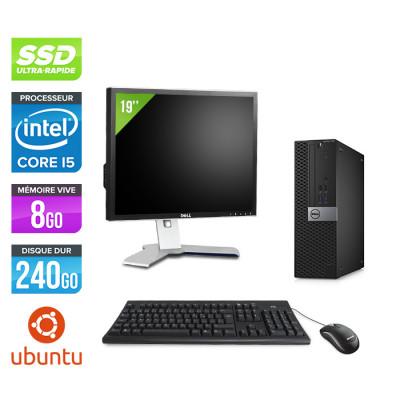 Pack Dell Optiplex 7040 SFF - i5 - 8Go - 240Go SSD - Ubuntu - Ecran 19