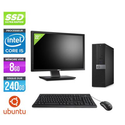 Pack Dell Optiplex 7040 SFF - i5 - 8Go - 240Go SSD - Ubuntu - Ecran 22