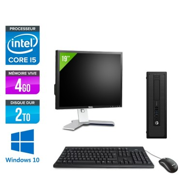 HP ProDesk 600 G2 SFF - i5-6500 - 4Go DDR4 - 2To HDD - Windows 10 - ecran 19
