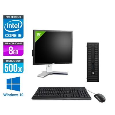 HP ProDesk 600 G2 SFF - i5-6500 - 8Go DDR4 - 500Go HDD - Windows 10 - ecran 19