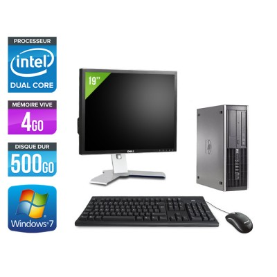 HP Elite 8100 SFF - Intel pentium - 4Go - 500Go HDD - WIndows 7 - Ecran 19 pouces