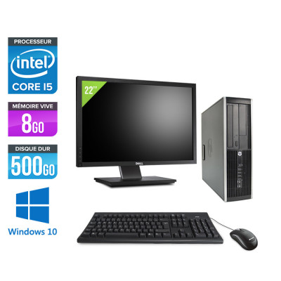 "HP Elite 8300 SFF - Core i5 - 8Go - 500Go + Ecran 22"" - Windows 10"