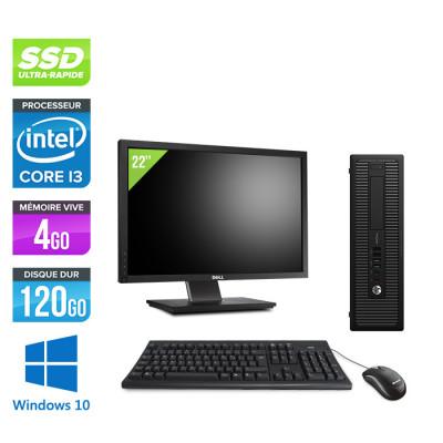 "Pack HP 600 G1 SFF + Écran 22"" - i3 - 4Go - 120Go SSD - W10"